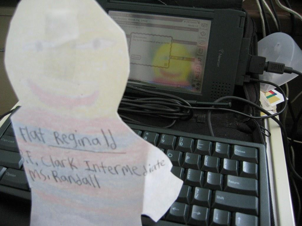 Note-taking with a Flat Stanley tribute on the Newton 2000